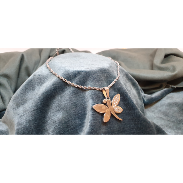 50cm Stainless Steel Chain with Diamante Butterfly pendant