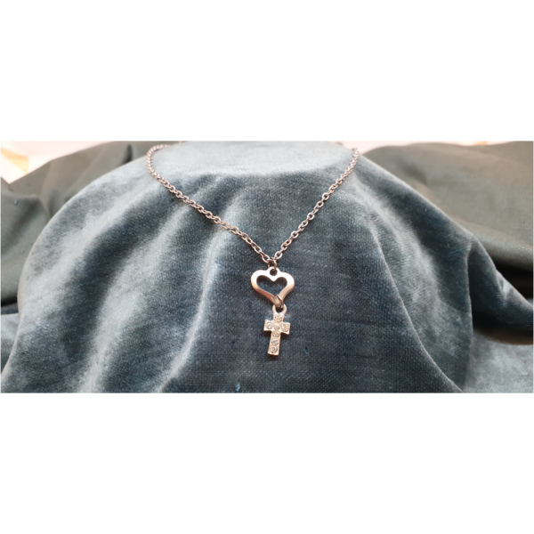 50cm Stainless Steel Chain with Diamante Cross and Heart pendant