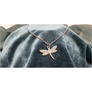 50cm Stainless Steel Chain with Diamante Dragonfly pendant