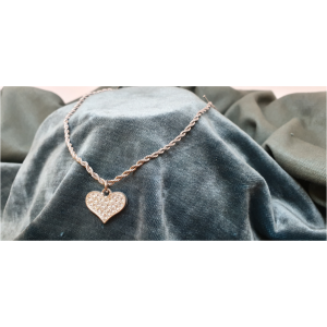 50cm Stainless Steel Chain with Diamante Heart pendant