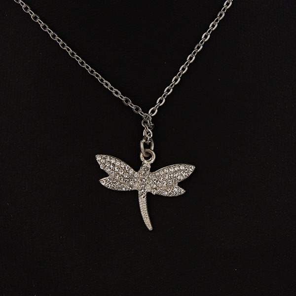 Stainless Steel Chain with Diamante Dragonfly pendant