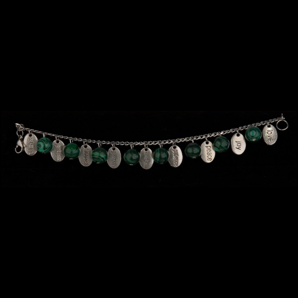 Stainless Steel Fruit of the Spirit Charm Bracelet with Malachite Beads