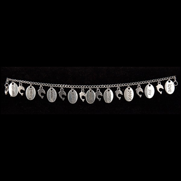 Stainless Steel Fruit of the Spirit Charm Bracelet with Dolphin Charms