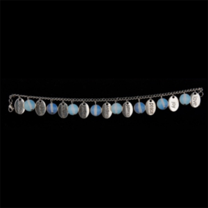 Stainless Steel Fruit of the Spirit Charm Bracelet with Moonstone Beads