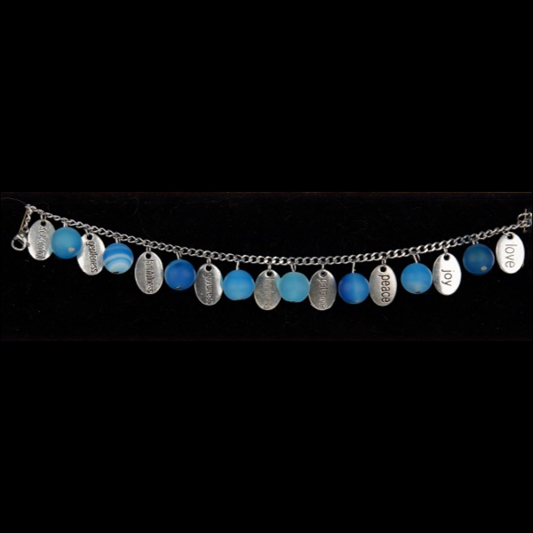 Stainless Steel Fruit of the Spirit Charm Bracelet with unpolished blue agate beads