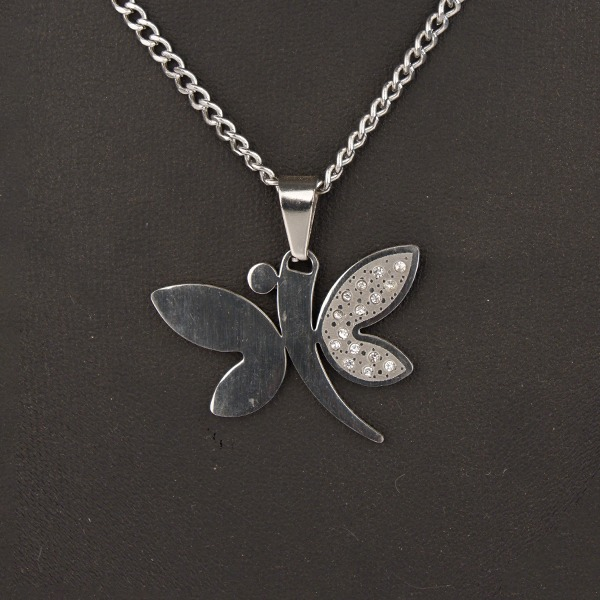 Stainless Steel Chain with Diamante Butterfly pendant