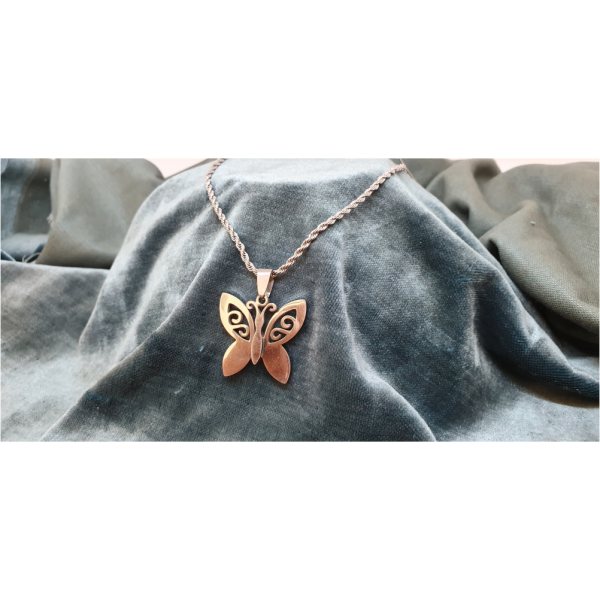 50cm Stainless Steel Chain with Butterfly pendant