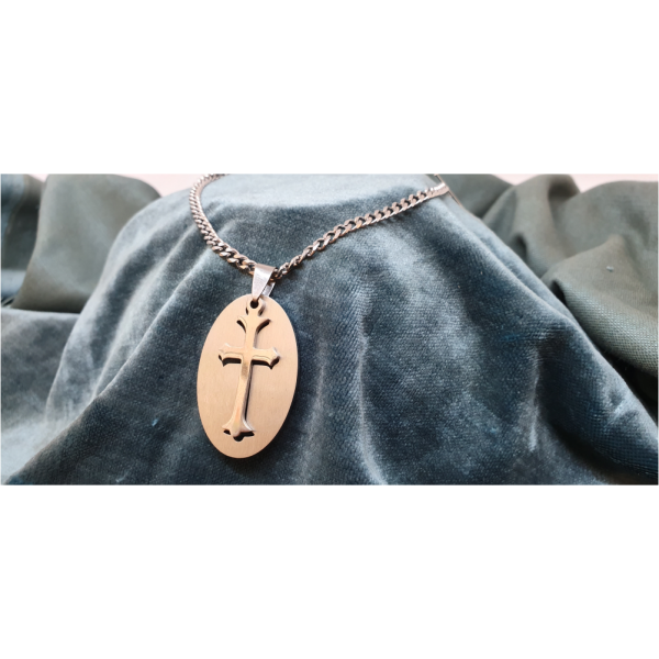 70cm Stainless Steel Chain with Oval Cross Pendant