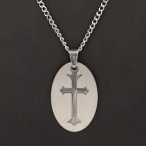 Stainless Steel Chain with Oval Cross Pendant