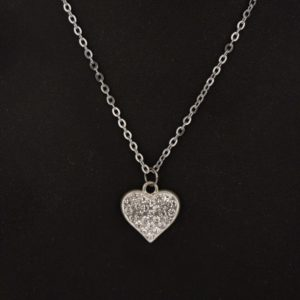 Stainless Steel Chain with Diamante Heart pendant