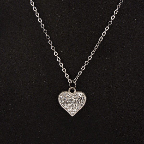Stainless Steel Chain with small Diamante Heart pendant