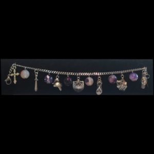 Armour of God Stainless Steel Charm Bracelets with African Purple Agate Beads