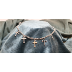 17cm Stainless Steel Bracelet with Cross Charms