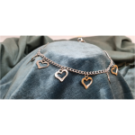 17cm Stainless Steel Bracelet with Heart Charms