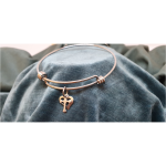 Stainless Steel Bangle with Heart and Cross Charms